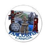 Vancouver Souvenir Stickers Inukshuk Totem Pole Steam Clock Gastown,Vancouver Landmark Souvenirs & Gifts