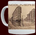 Vancouver BC Souvenir Mug & gifts, Vancouver Gastown Cups / Mugs Vancovuer Cityscape Art Coffee Cups / Mugs T-shirts, Coasters, Sweatshirts, Prints, Vancouver Gastown Postcards, Vancouver's Gastown original illustration & art by Kim Hunter
