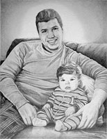 Custom Pencil Portraits from Photos Vancouver Artist Designer Kim Hunter Original Fine Art Drawings from Photographs Father and Son Dad and Baby Pencil Portrait from Photographs