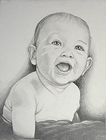 Baby Portrait Sketch from Photo  baby portrait pencil skech on watercolour paper by Canadian Artist / Designer Kim Hunter