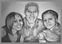family pencil portrait family drawing sketch in graphite by contemporary Canadian Artist INDIGO aka Kim Hunter