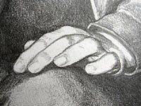 Detail Hand Sketched pencil portrait from photo. Man & woman pencil portrait by Canadian Vancouver based artist / designer Kim Hunter / Indigo.
