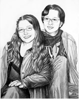 Sketched pencil portrait from photo. Man & woman pencil portrait by Canadian Vancouver based artist / designer Kim Hunter / Indigo.