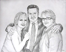 pencil portrait Drawing Pencil portraits from photographs sisters and brother family portrait sketch by Vancouver Artist / Designer INDIGO aka Kim Hunter