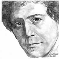 Pencil drawing portrait, Sketch Portrait Lou Reed Artist  INDIGO aka KIM HUNTER