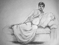 pencil portrait figurative pencil drawing reclined woman on grey paper