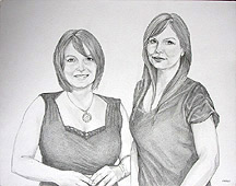 Drawing Pencil portraits from photographs sisters family portrait sketch by Vancouver Artist / Designer INDIGO aka Kim Hunter