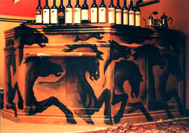 "horses wildlife mural on a bar for ""diavlo's restaurant"" Oil on wood original painting by muralist Kim Hunter aka INDIGO Vancouver BC"
