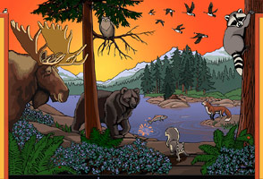 wildlife mural Canadian Wildlife Kids room mural wall painting childrens dentist office Port Coquitlam BC Artist Muralist Kim Hunter