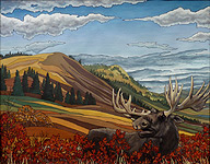 Albert Moose Painting Canadian Wildlife Paintings Moose painting w. Alberta foothills landscape & wildlife watercolour painting