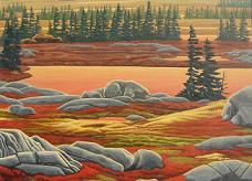 wildlife painting Polar Bear Painting Churchill MB Arctic Landscape Autumn polar bear painting by Canadian Artist Kim Hunter / Indigo