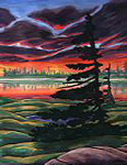 arctic landscape painting Churchill MB One sided Tree Arctic Landscape at Sunset Painting  by artist INDIGO For Sale wildlife painting by Canadian Artist Kim Hunter / Indigo Commissioned paintings welcome!