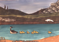 Wildlife Paintings northern painting Arctic Fox  & Goose & Gosling on the Summer Tundra Painting Churchill Manitoba  Original Painting Click on Image for Detail
