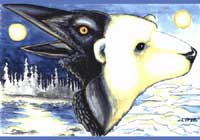 "wildlife painting Polar Bear & Raven painting ""Night and Day"" Original Painting Click on Image for Detail"