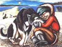 Original Arctic Painting, Inuit Child with Husky Painting by Canadian Artist Kim Hunter / Mc Tavish