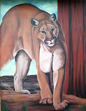 cougar painting  wildlife mural / wildlife painting original mural oil painting Mountain Lion / Cougar / Puma Oil painting on exterior stucco  by Artist Kim Hunter / INDIGO,  Muralist available.
