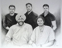 "Pencil Sketch Family Portraitblack & white pencil portrait drawing / sketch from multiple photographs 2012 16 "" x 20 """