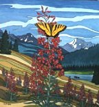 Wildlife Paintings butterfly painting with moose painting Original Butterfly and Fireweeds in the Alberta Foothills with Wildflowers Painting   by artist INDIGO / Kim Hunter   Click on Image for Detail