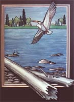 Great Gray Heron painting Water Fowl, Shore Birds, Arctic Tundra Spring Mating Season  Original  Painting Churchill MB   by artist INDIGO Click on Image for Detail
