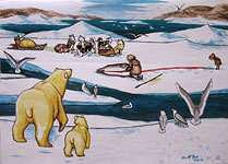 Wildlife painting Polar Bear with Cub overlooking Inuit Hunter and Child with Harbor Seal in Early Spring Original Painting Churchill MB Click on Image for Detail