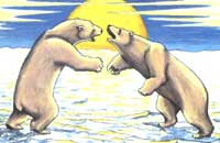 Wildlife Paintings Polar Bear painting  young adults, Juvenile  Wrestling Sparring on Winter Ice Flows Painting Churchill MB Original Painting Click on Image for Detail