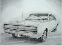 Vintage Car Sketch 67 Charger pencil portrait from photo.Car Portrait pencil portrait by Canadian Vancouver based artist / designer Kim Hunter / Indigo.