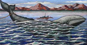 The Hunt  First Nations Whale Hunting Painting