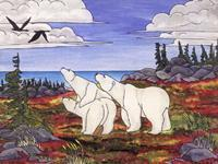 ARCTIC wildlife painting  Mother Polar Bear with two Cubs on the Autumn Tundra painting on paper Churchill MB Original Painting Click on Image for Detail