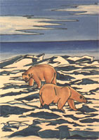 wildlife painting Polar Bear Churchill MB  young adults Greeting on Winter Ice Flows Painting Churchill Manitoba Original Painting Click on Image for Detail