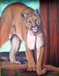 Wildlife Paintings cougar painting / mural / wildlife painting original mural oil painting Mountain Lion / Cougar / Puma Oil painting on exterior stucco  by Artist Kim Hunter / INDIGO,  Muralist available.