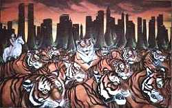 Wildlife Painting tiger painting Tigers running through New York w Twin Towers Landscape painting Political Oximoron Symbolism Large Oil Painting Click on Image for Detail