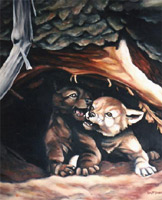 Wildlife Paintings wolf cubs painting original wolf oil painting by Canadian Artist Kim Hunter / Mc Tavish Original wolf painting for sale online by artist