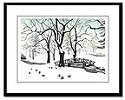 Canadian Winter Landscape Painting Framed Art Prints, Fine Art Posters, Winter Landscape w. Ducks Painting Prints, Vancouver Stanley Park Winter Landscape Painting Framed Art Prints Winter Weeping Willows Forest Art Print greeting cards, magnets, calenders,journals,gifts & More