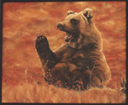 Wildlife Paintings grizzly bear painting, bear oil painting in Alpine Meadow Oil Painting wildlife painting by Canadian Artist Kim Hunter / Indigo Commissioned paintings welcome!